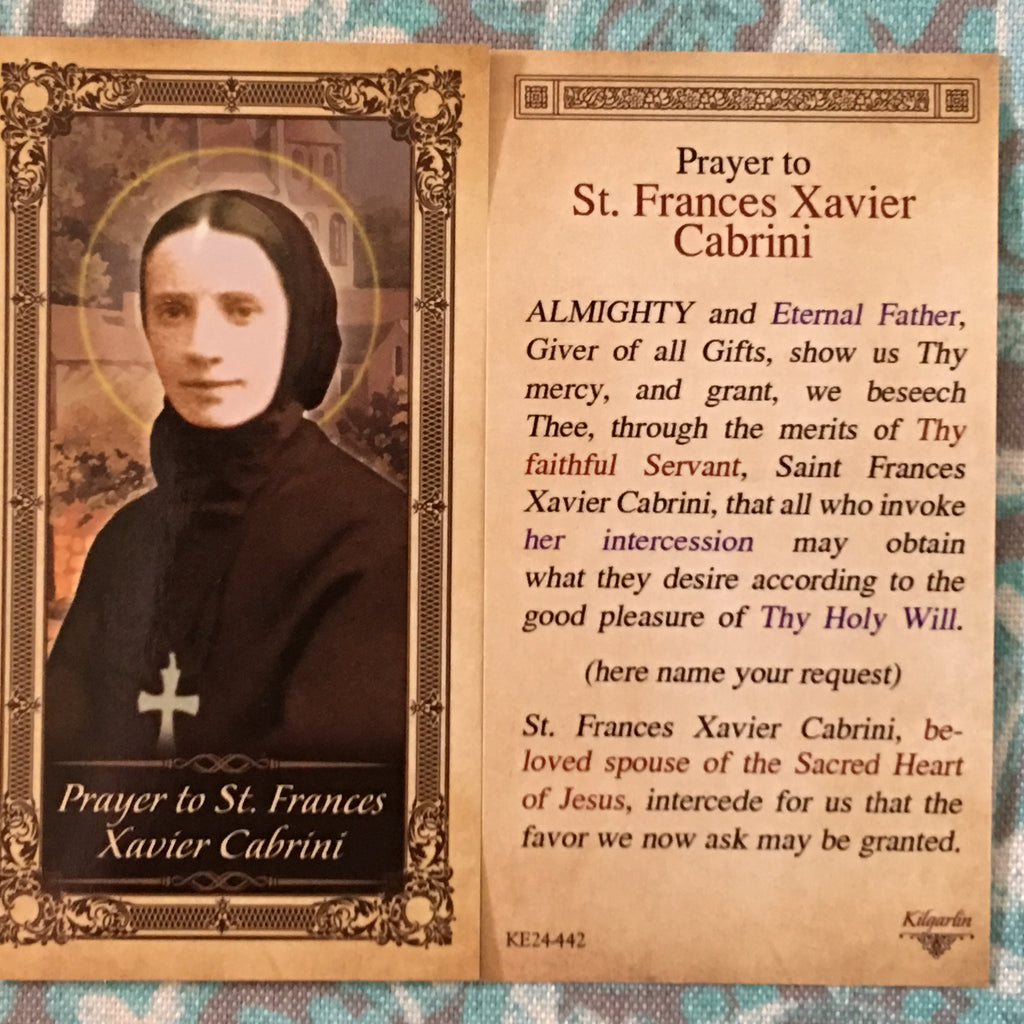 St. Frances Xavier Cabrini Prayer Card