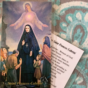 Cabrini with Immigrants Holy Card