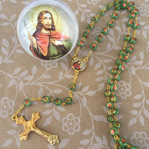St Jude Rosary in Round Case