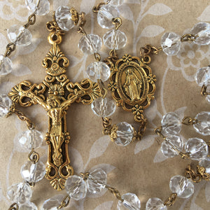 Antique Gold and Crystal Rosary