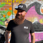 Load the picture into the gallery viewer, black BRLO shirt with white embroidery logo and cap