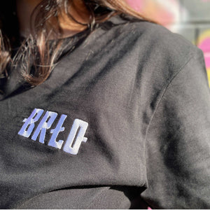 Black BRLO shirt with white embroidery logo