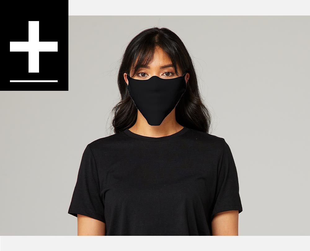 woman wearing black face cover