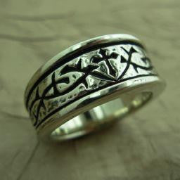-Thorns Ring 14K White-Mens size 8.5