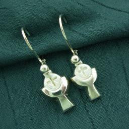 Communion Cup & Bread Earrings, Sterling
