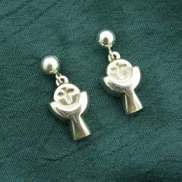 Communion Cup & Bread Post Earrings, Sterling