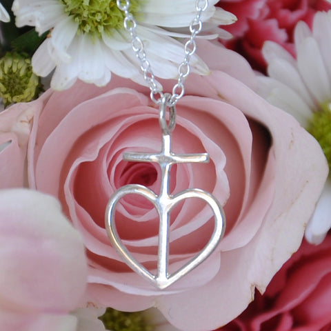 "Small Heart Cross on 20"" 1mm Cable Chain, Sterling"