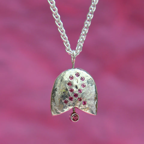 SS Breast Cancer Bell, Sterling Silver with Pink Tourmaline Ribbon & Clapper