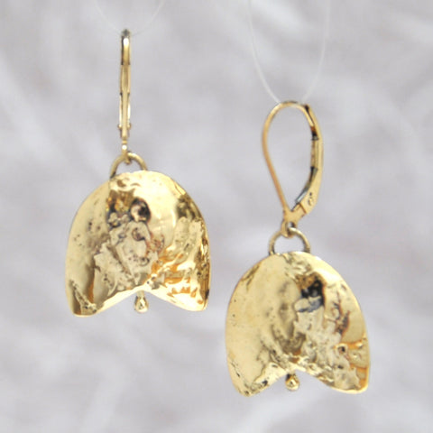 Gold Breast Cancer Bell Earrings, 14K Yellow