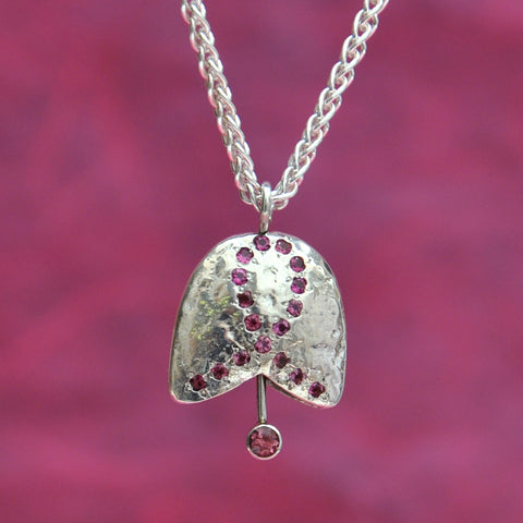 SS Breast Cancer Bell, Sterling Silver with Pink Tourmaline Ribbon Pattern