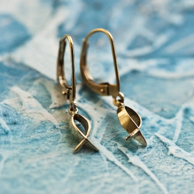 Fish Earrings, Small in 14K