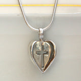 3D Heart with Cross in Sterling Silver