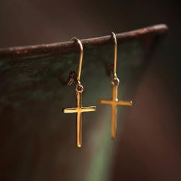Cross Earrings-14KY