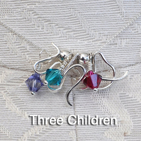 AD Mother's Birthstone Necklaces-3 Children