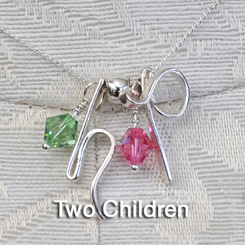 AD Mother's Birthstone Necklaces-2 Children