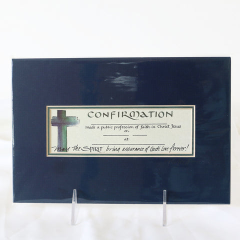 Print, Confirmation Gift w/Blue Mat