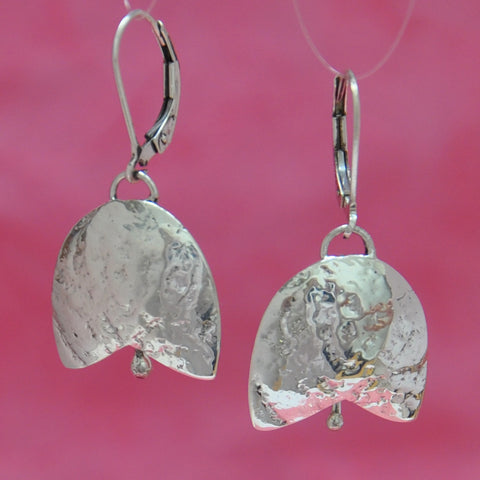 SS Breast Cancer Bell Earrings,  Sterling Silver on Leverbacks