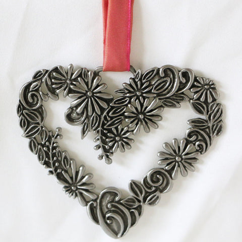 Life Blooms, Pewter Heart Wall Ornament