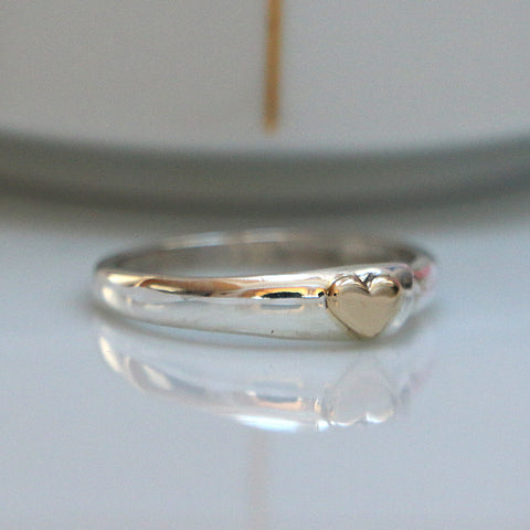 Simple Heart Ring, Sterling with 14K Heart