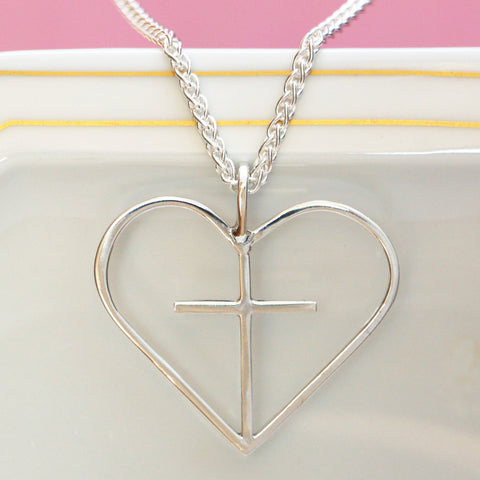 Extra Large Heart-Cross, Sterling