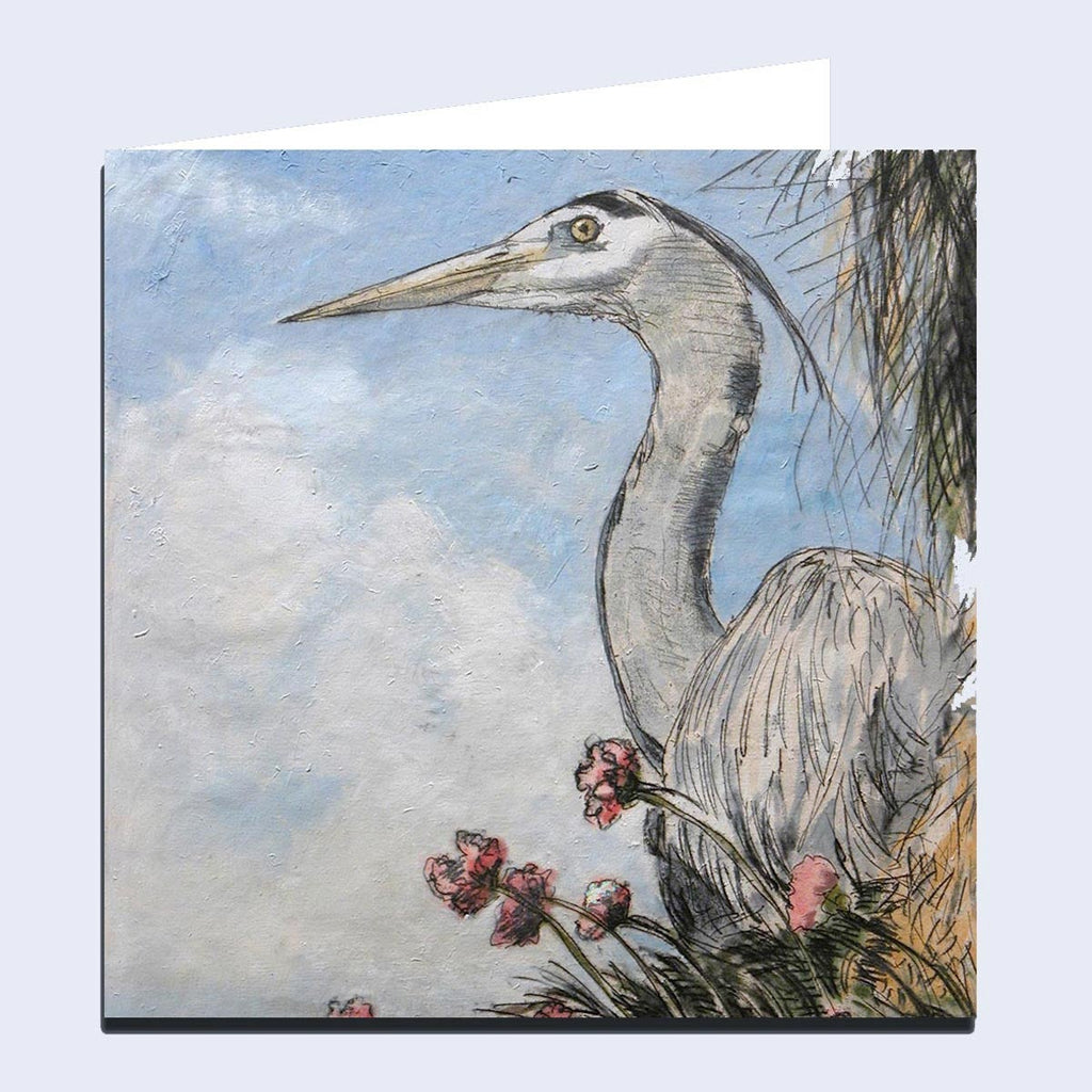 'Heron & Thrift' Greeting Card