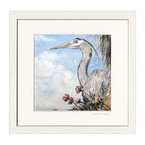 'Heron on Thrift' Print