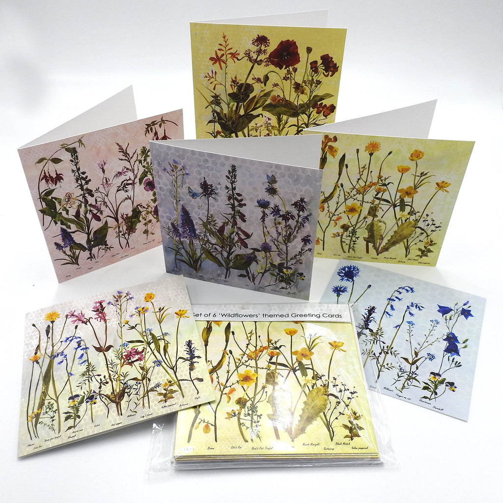 A Set of 6 'Wildflower' themed Greeting Cards