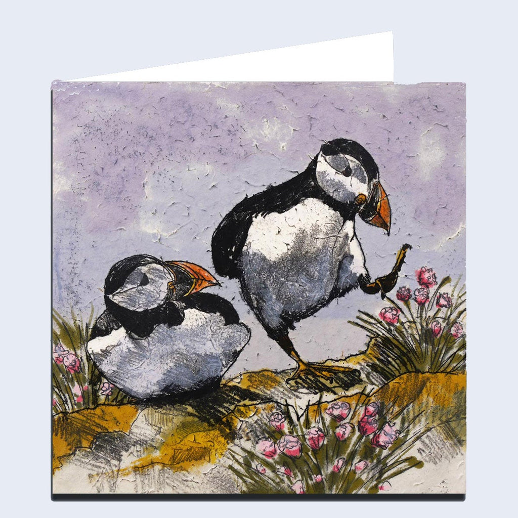 'Dancing Puffins' Greeting Card