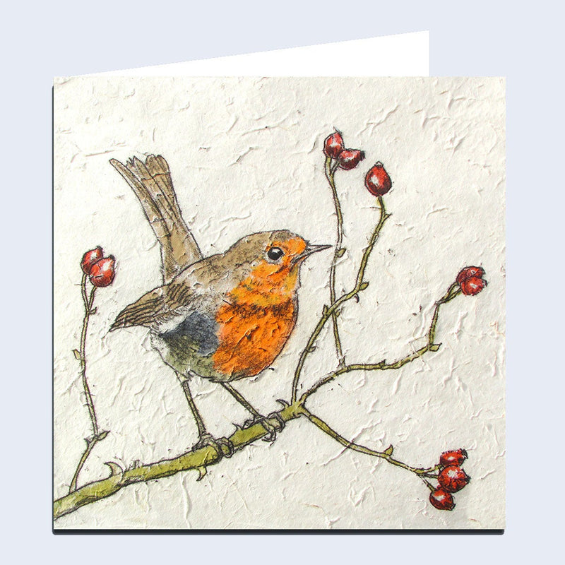 'Robin & Rosehips' Greeting Card