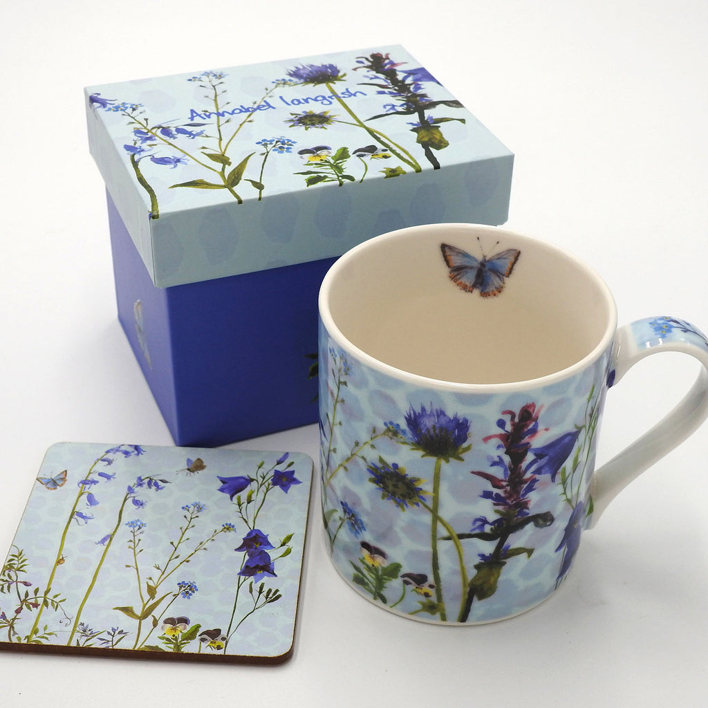 Wildflower 'The Blues' Mug and Coaster Set