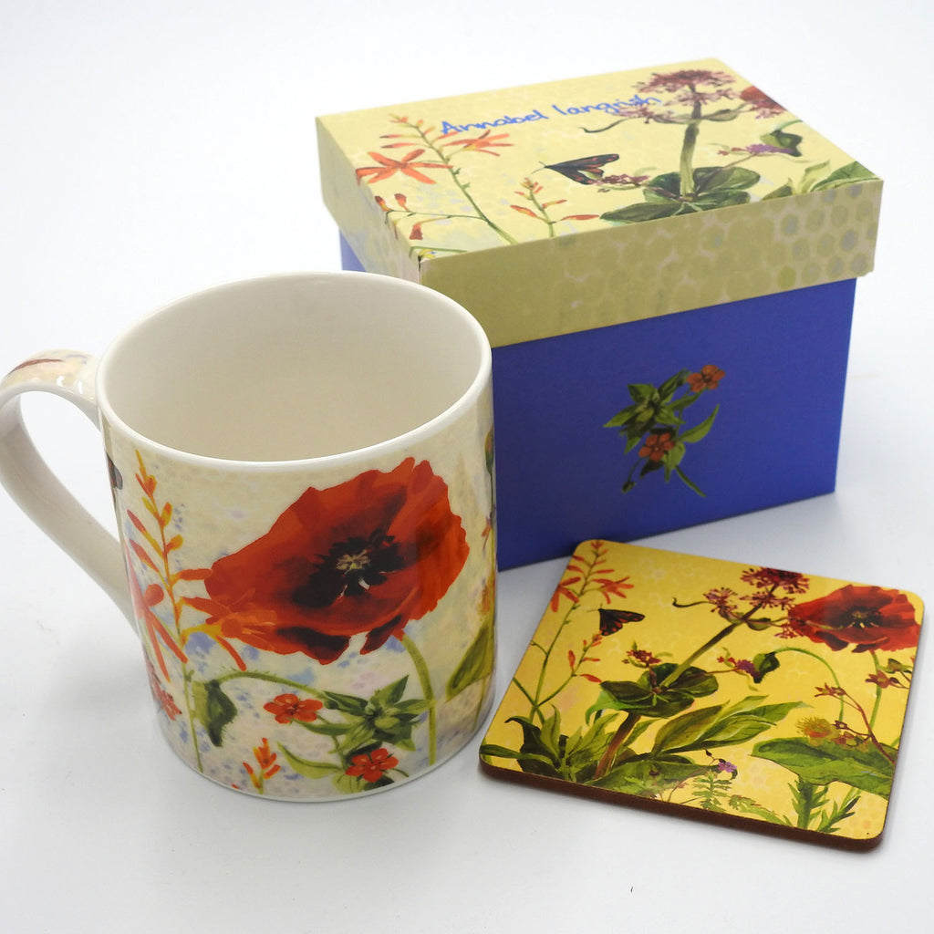Wildflower 'Fiery' Mug and Coaster Set