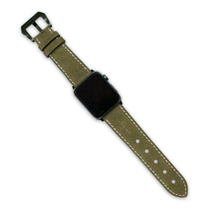 Copaze Olive Green Suede Leather Apple Watch Straps