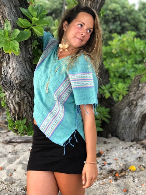 Women's V-Neck Poncho Crop