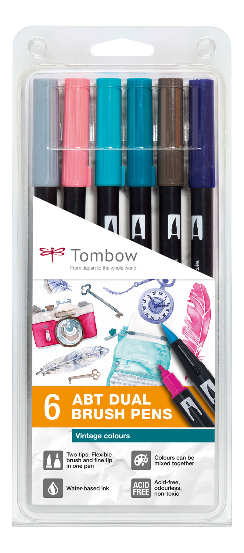 Tombow ABT Dual Brush 6P-5 Vintage farger (6)