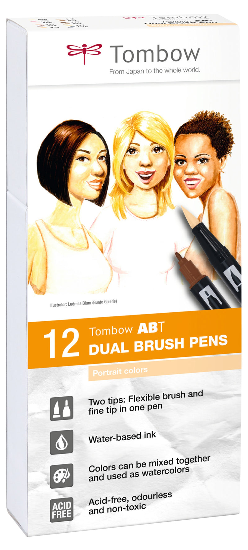 Marker Tombow ABT Dual Brush 12P-4 Portrait colours (12)