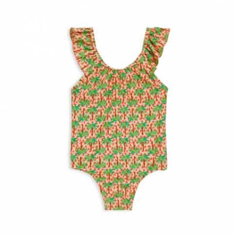 Emma Ruffle One Piece in Green Palm Trees: Last One 3-6 Month