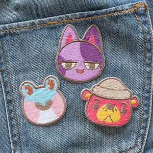 Homemade, embroidered, iron-on patches Animal Crossing Villagers