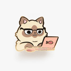 Flooffrey Siamese Cat Hard Enamel Pin
