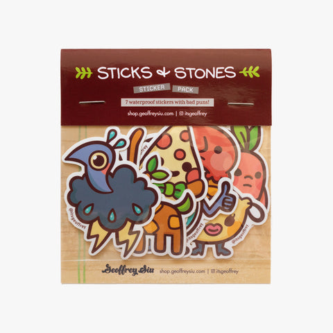 Sticks & Stones Sticker Pack (7 Vinyl Stickers)