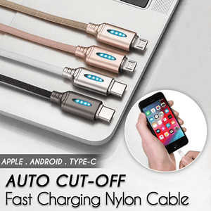Auto Cut-off Fast Charging Nylon Cable (Buy 2 get 1 FREE)