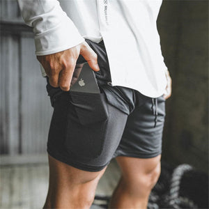 Mens 2 in 1 Quick Dry  Fitness Short