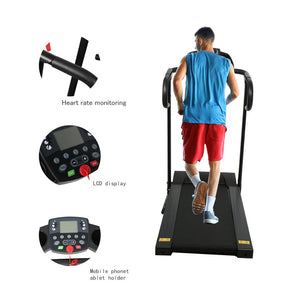 Compact Folding Treadmill ~ 1100W Running Jogging Machine for Home with LCD Display & Pad Holder