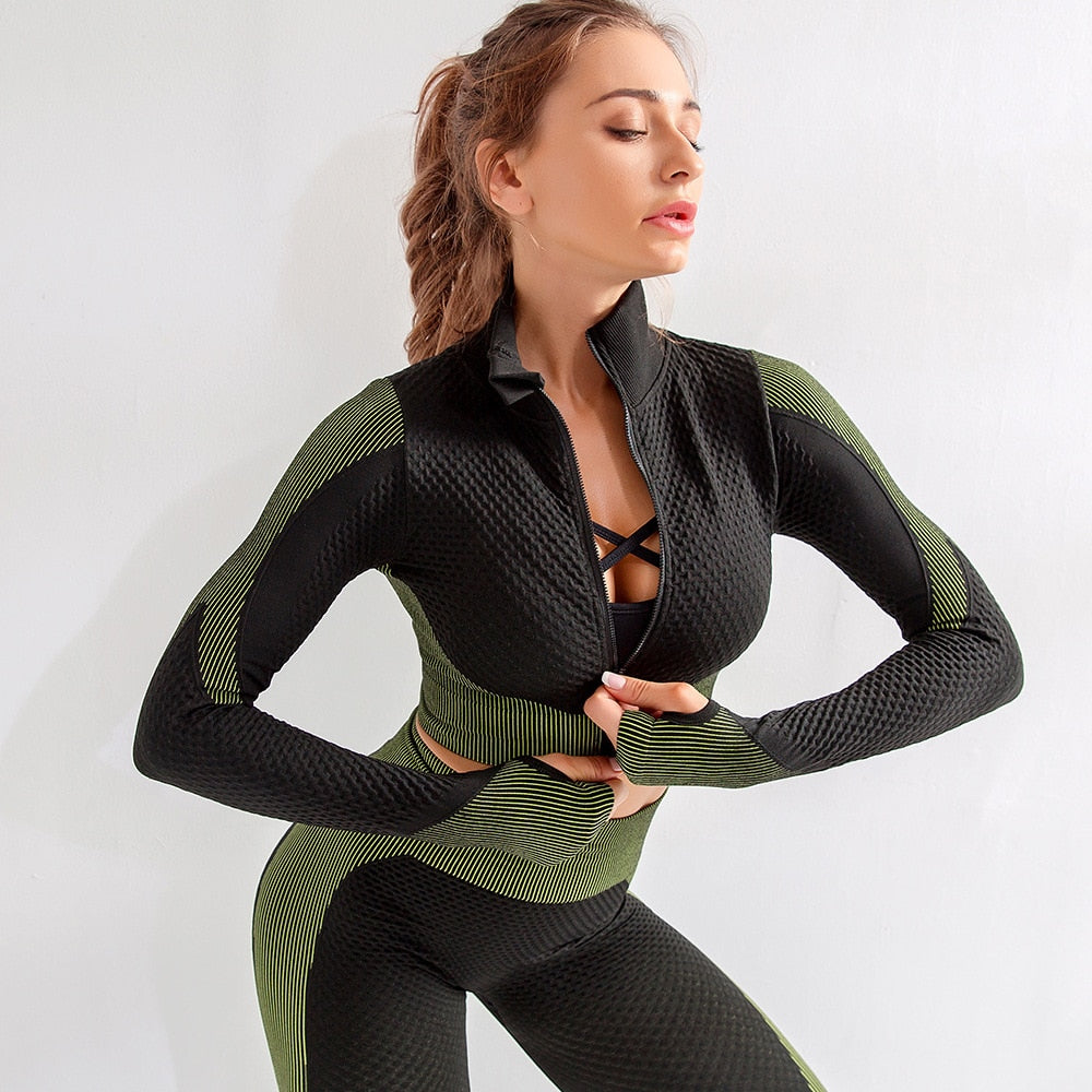 2 Piece Seamless Honeycomb Fitness Suit Set