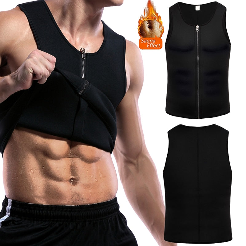 Men's Waist Training Zipper Sauna Vest - Burn Fat and Tone Up Fast