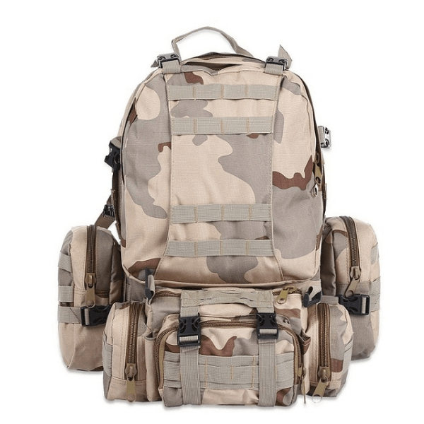 LARNELEC :50L Military Outdoor Camping Hiking Camouflage Sports Shoulder Rucksack Backpack,Three Sand,Backpack