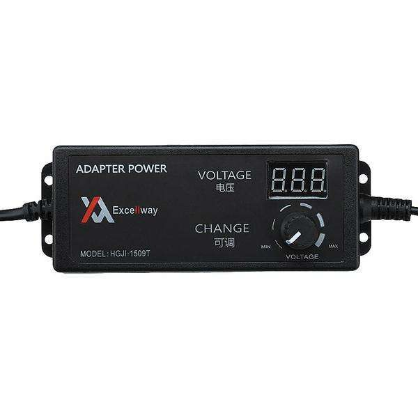 Excellway 4-24V 2.5A 60W AC/DC Adjustable Power Adapter Supply EU Plug Speed Control Volt Display-Chargers & Cables