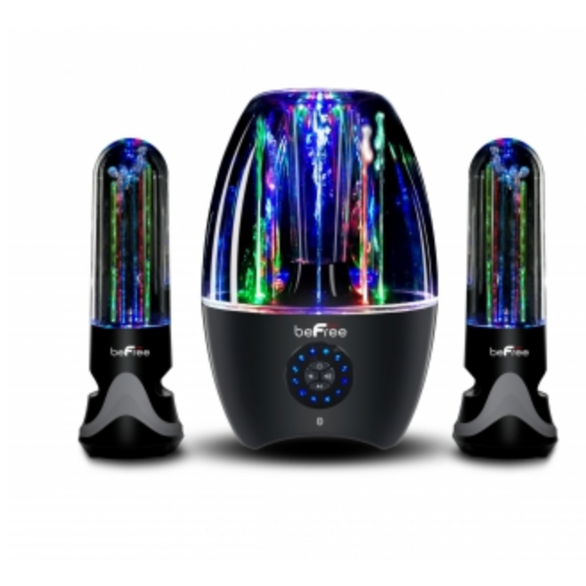 BeFree Multimedia Sound 2.1 Channel Bluetooth LED Dancing Water Sound System-Bluetooth Speakers