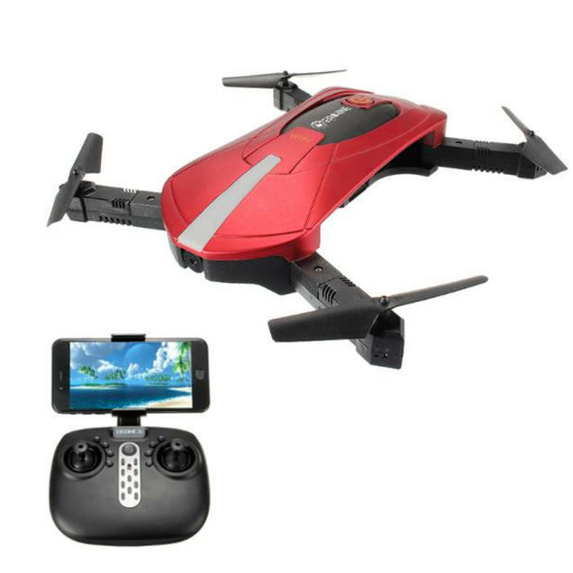 LARNELEC :Hypersky E52 WiFi Selfie Drone RTF-2MP Wide Angle HD 3D 360° Rolling,0.3PM Red RTF,Drone