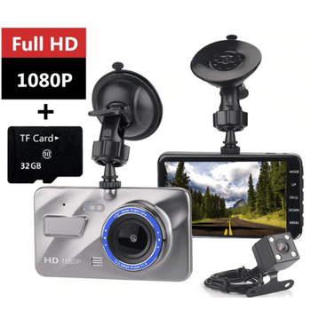 HD 1080P Dual Lens Dash Camera With Night Vision Front Rear  170 Degree Loop Recording - LARNELEC