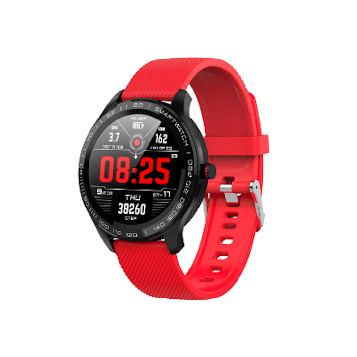 LARNELEC :SMartelec  L9 Full RTS Bezel ECG HR O2 IP68 Facebook Business Smart Watch,Red,Smart Devices & Accessories